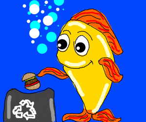 fish recycling a burger