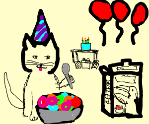 cat about to eat fruit loops on its birthday