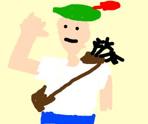 Robin Hood wearing a T-Shirt