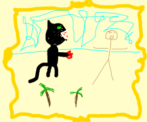 a art work of a panther fighting a human