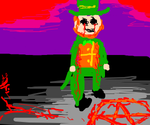 leprechaun doing some satanic ritual