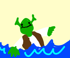 A statue honoring Shrek sinks into the ocean.