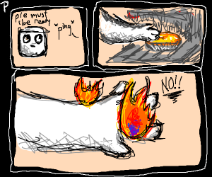 Marshmallow Bakes a Pie, But Catches on Fire