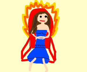 Girl in fiery demon chair