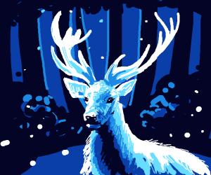 Ethereal Blue Deer in Enchanted Forest