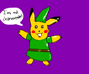 Pikachu wearing Link costume