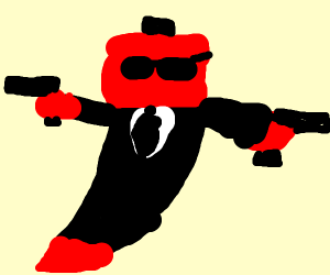 hot pepper with sunglasses and suit holds gun