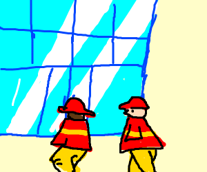 Firefighters go to glass buiding