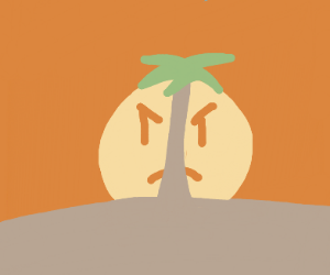 Sunset behind a palm tree (sun is angry)