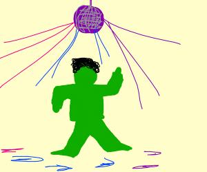 Green afro man doing disco