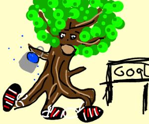 a naked tree with aBucketOfWaterRunsAMarathon