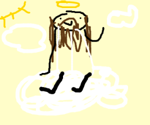 Jesus with a red sash on a cloud