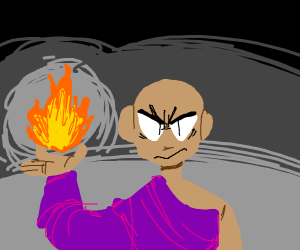 Robed magic dude wields fire