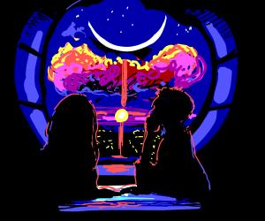 romantic moonlit evening