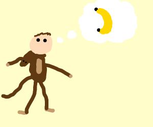 Man in monkey costume wants banna