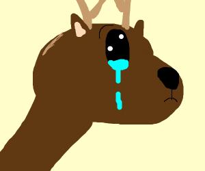 a very sad reindeer