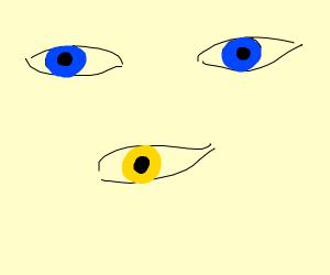 2 blue eyes and 1 yellow eye