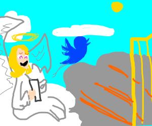 An angel and the twitter bird