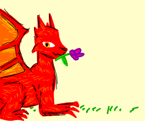 Dragon with flower