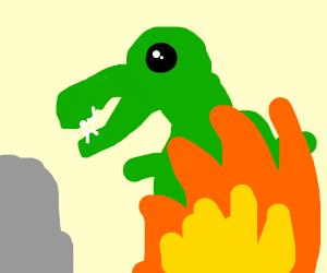a dinosaur burning alive