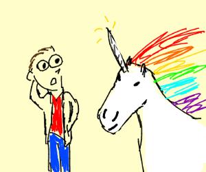unicorn uses magic to sublime man's nody