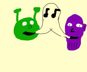 Shrek and Thanos singing