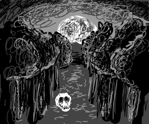A skull in a forest clearing at night