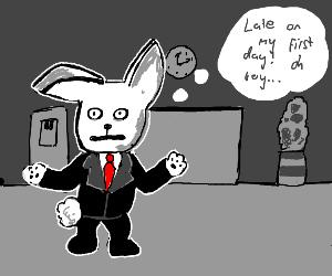 Anxious business bunny