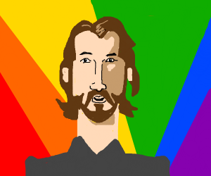 Happy rainbow gay Keanu Reeves