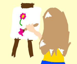 someone painting a flower