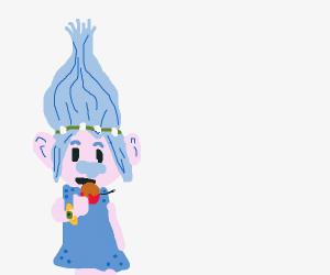 Troll eating caramel apple