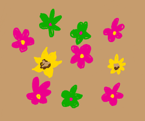 Pattern with Pink, Green and Yellow flowers
