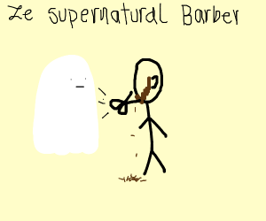 ghost cutting a mans beard