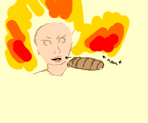 Someone eating bread in an explosion
