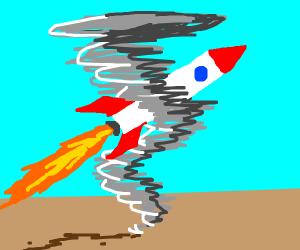 A rocket ship in a tornado