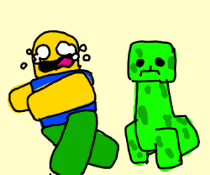 Roblox is chased by a creeper