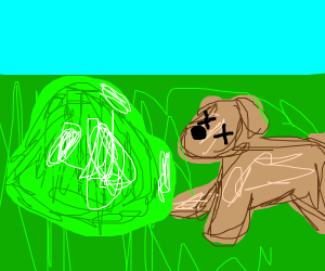 A dog die because of green slime