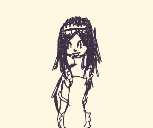 Anime girl. Apron. Arm wrapped. Brunette.