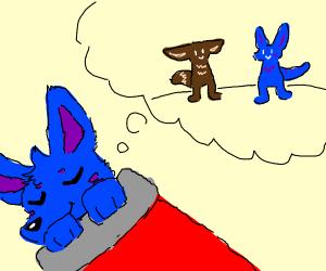 A blue furry having a dream