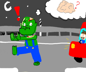 Zombie crossing the Highway