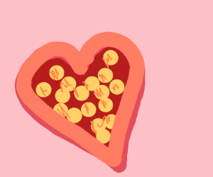 valentines day heart box full of gold coins