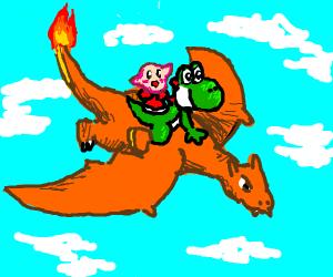 Kirby riding Yoshi riding Charizard