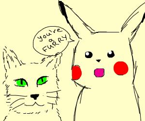 pikachu calls a cat a furry