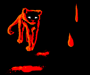 Red puma, also, some blood stains