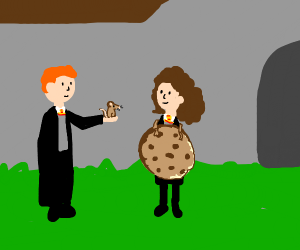 ron giving a mouse to hermione wearing cookie