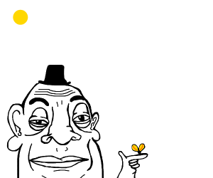 A guy with a top hat holding a butterfly