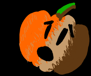 A scared pumpkin