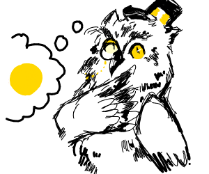 owl with monacle and tophat thinks of yellow