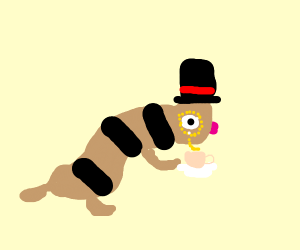 Ferret wearing a Top Hat