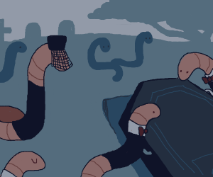 worm attends funeral